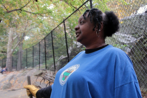 Camelia Robinson swept the grounds of River Run Playground at Manhattan's Riverside Park during her transitional job with the Department of Parks and Recreation.