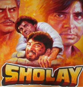 An advertisement for the 1975 curry western, Sholay.