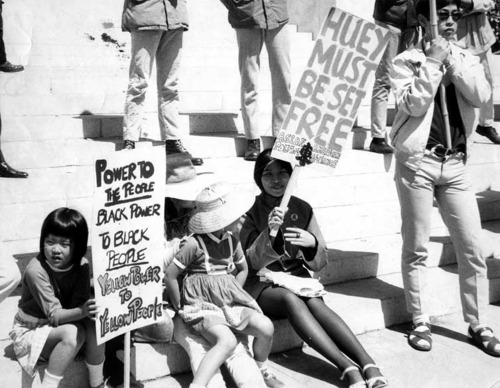 Protestors in solidarity with the black liberation struggle in front of the Oakland court house in 1969