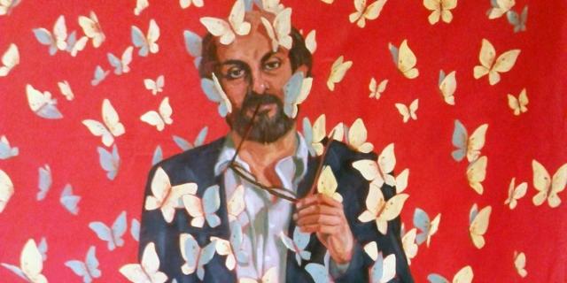 A mural of Salman Rushdie