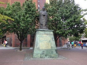 The statue in Manhattan's Chinatown has moved twice since it was unveiled in 1976. Photo by Eveline Chao