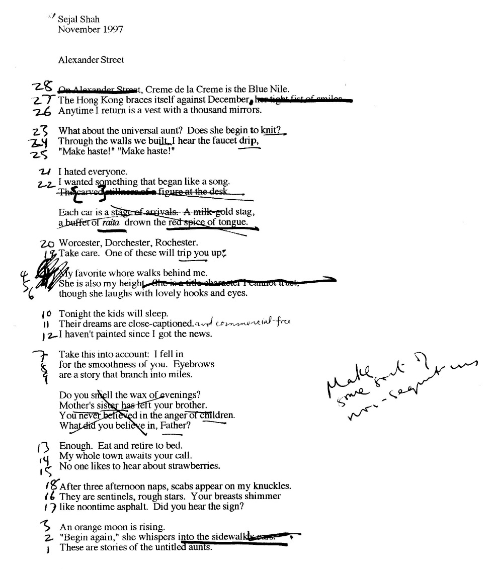 """""""Alexander Street"""": the best example I have of Shahid's strategy of extensive re-ordering to break a reliance on strict narrative or to suggest other directions in which a poem could move."""