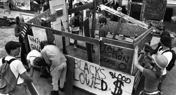 In 1986, students erected a shantytown at UC Berkeley as part of the anti-apartheid divestment campaign. The University of California eventually divested $3.2 billion from apartheid South Africa.