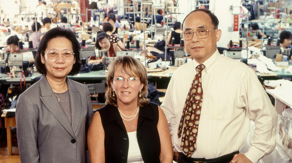 Lafayette 148 founders Ida Siu, Deirdre Clark, and Shun Yen Siu in the company's garment factory, which relocated to China after 9/11.