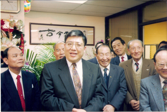 The Chinese American Voice celebrates their move into a new office in 1990. Photo courtesy of Richard Hsueh