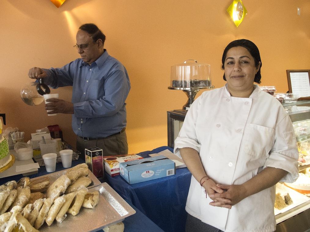 Kamala Maharaj with her pastries and B. Tandon.