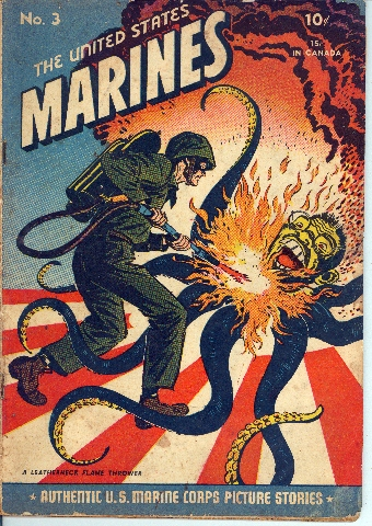 "The cover of a U.S. Marine Corps comic book in which a marine scorches a ""yellow octopus."" Government Comics Collection, Love Library, University of Nebraska, Lincoln. Courtesy of Richard Graham."