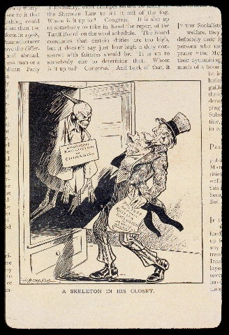 "The spectre of Chinese exclusion comes to haunt Uncle Sam's ""Protest Against Russian Exclusion of Jewish Americans."" Louise Glackens, ""A Skeleton in His Closet,"" Puck, vol. 70, no. 1818 (Jan 3, 1912), 2. Courtesy of the Library of Congress."