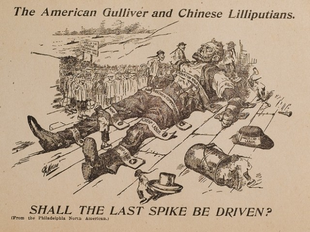 "In this image from the American Federation of Labor in 1902, American labor travels like Gulliver to expand his possibilities only to be tied down by a horde of tiny men wielding railroad spikes and cheap labor. ""The American Gulliver and Chinese Lilliputians."" Fales Library and Special Collections, New York University."