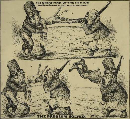 """The Great Fear of the Period—That Uncle Sam May Be Swallowed by Foreigners. The Problem Solved."" This cartoon positions the viewer on the northern border of the continental United States, with the Atlantic Ocean to the left and the Pacific to the right, with the soon-to-be-completed transcontinental railroad in the background. As the Irishman travels west and the Chinese man travels east, they first consume Uncle Sam—then the Chinese man consumes his Irish counterpart. (San Francisco: White & Bauer Lithographers, late 1860s). Courtesy of the Library of Congress."