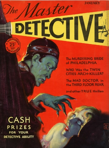 The cover of the January 1930 issue of The Master Detective, by Yoshio Kishi/Irene Yah Ling Sun. It's worth nothing that none of the stories within the issue featured an Asian character, villain or protagonist. Courtesy of Fales Library and Special Collections, New York Univerisity.