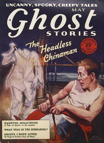 Cover of the pulp fiction Ghost Stories from May 1929. Cover art by Jean Oldham. Courtesy of pulpcovers.com