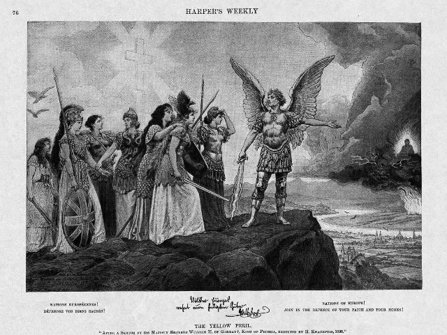 "Kaiser Wilhelm II allegedly coined the term ""yellow peril"" after a dream he had in which a seated Buddha riding atop a dragon threatened to invade Europe. He commissioned Hermann Knackfuss to illustrate his dream, resulting in this painting, which appeared in Harper's Weekly in 1898. In the painting, Archangel Michael calls for unity in Christian Europe, with each nation represented by women warriors. In the distance, a seated Buddha on a dragon thunderstorm sweeps the landscape below. Harper's Weekly, vol. 42, no. 2144, January 22, 1989. Courtesy of the New York Public Library."