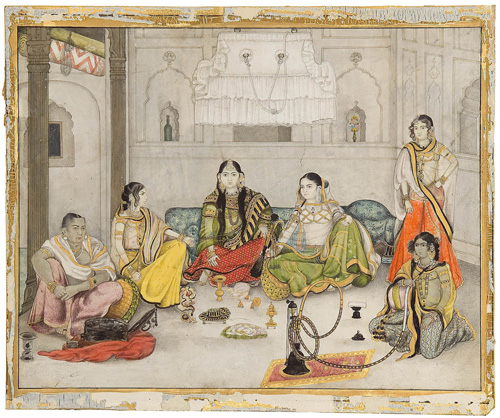 A company style painting of a group of courtesans in northern India from the early 19th century. Edwin Binney 3rd Collection.