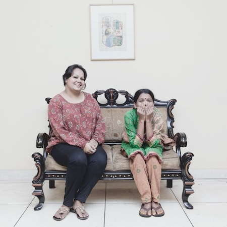 31-year-old Misti ( left) is a housewife  living in  Dhanmondi, Dhaka. 18-year-old Mayna has been a home servant in Misti's house for the past three years. JANNATUL MAWA