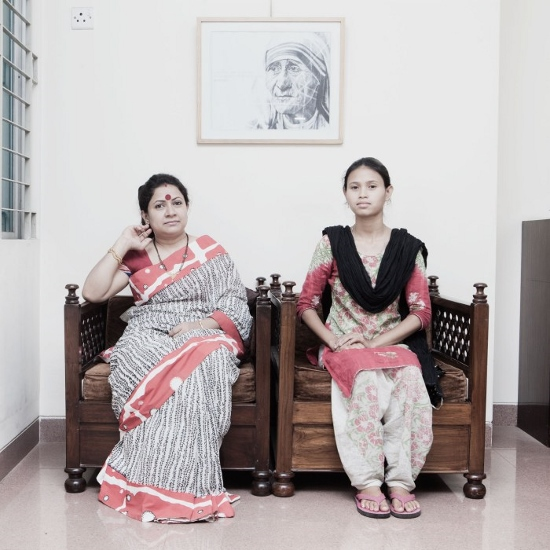 35-year-old housewife Shoma Chowdhry (left) with Joba Sarker, her 20-year-old home servant in Chowdhry's home in Green Road, Dhaka.