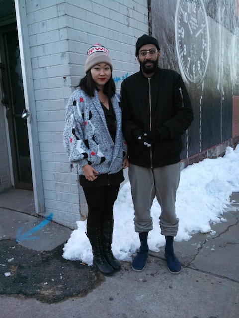Ashok and Mary brave the cold outside Brooklyn's Kinfolk.