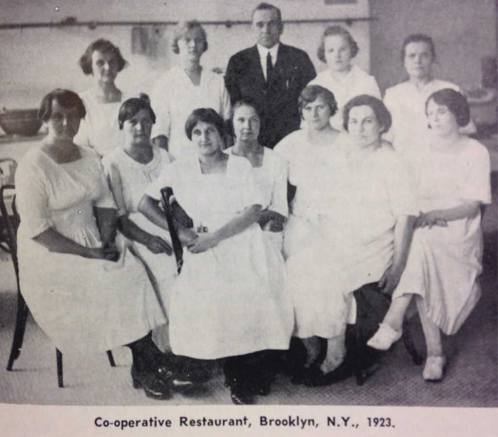 Workers at the co-op restaurant started by the Finnish Socialist Club, taken in 1923.