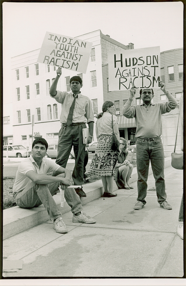 "Indian Youth Against Racism, a group from Columbia University, documented violence against Indians in New Jersey in the 1980s. The group also helped pass a bill in the New Jersey legislature raising mandatory penalties for ""bias"" crimes. Photo by Corky Lee"