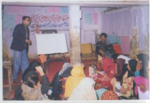 Shahid Khan leading a teaching workshop for women in Lahore 1997 (Photo courtesy of Shahid Khan)