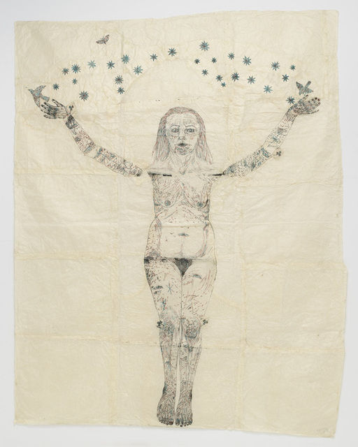 Kiki Smith. Blue Stars on Blue Tree. 2006. Ink and silver leaf on Nepal paper. 92x70 in. Pace Gallery.
