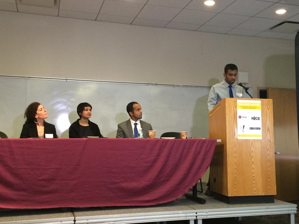 "Imtiaz Hossain, of the South Asian community development group Chhaya, introduced the report, ""Bridging the Gap: Overcoming Barriers to Immigrant Financial Empowerment in Northwest Queens,"" on February 25. (Photo courtesy of Chhaya)"