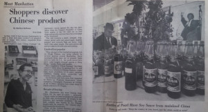 "A 1971 article in the Christian Science Monitor about the ""limited but popular run on things Chinese"" features ""Pearl River soy sauce."" (Courtesy of Michelle Chen)"