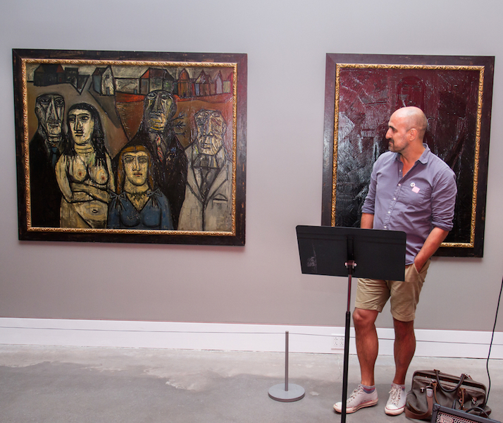 Hari Kunzru reading at the Queens Museum on August 30. Photo by Preston Merchant.