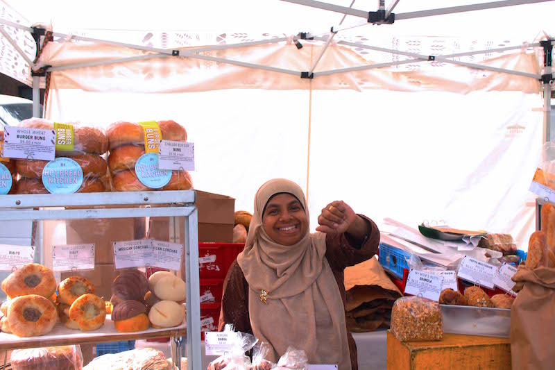 Lutfunnessa, who regularly works at the Hot Bread Kitchen stand at the Jackson Heights farmers' market. Photo by Rohan Kamicheril