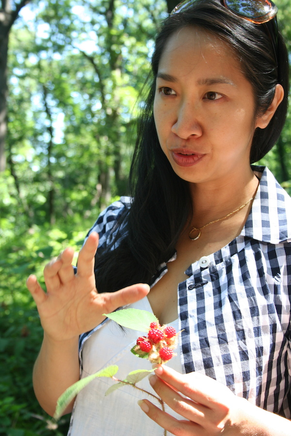 Urban forager Ava Chin holds wineberries. Courtesy Ava Chin.