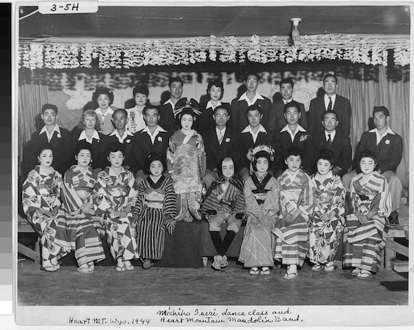 Michiko Iseri's dance troupe at Heart Mountain. Courtesy of UCLA, Library Special Collections, Charles E. Young Research Library