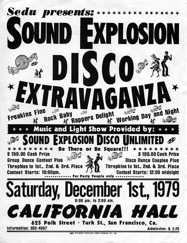 A flyer Sound Explosion's Disco Extravaganza on December 1, 1979. Courtesy Rafael Restauro