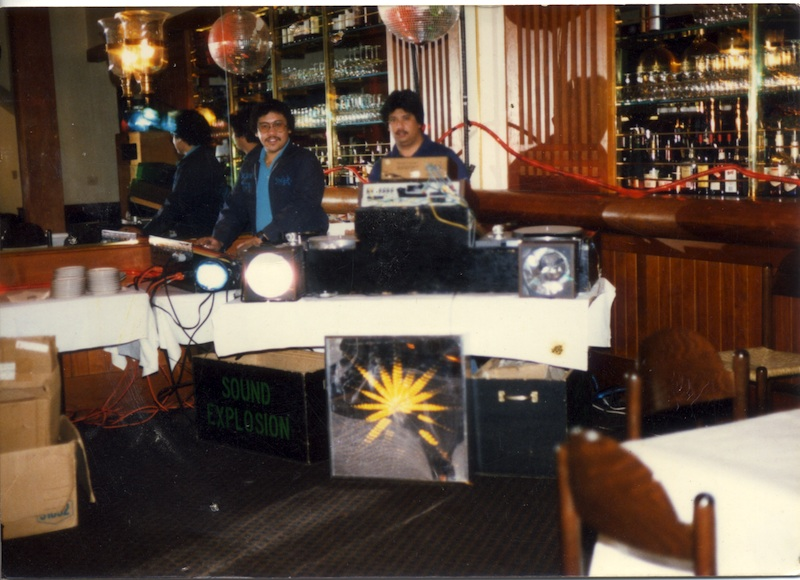 Rafael Restauro and Sam Beltran of Sound Explosion setting up before a set in 1979. Photo courtesy Rafael Restauro