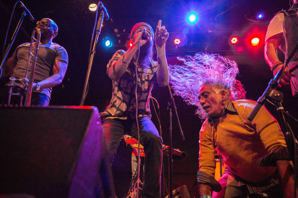 Javaid jamming onstage with the author and his band, Red Baraat, last month. Photo by Omar Kasrawi