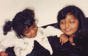 The writer and her sister, around the time of the banana peel incident. Photo courtesy of Rahima Nasa.