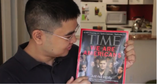 Jong-Min holds a copy of TIME Magazine in June 2012 that featured dozens of undocumented immigrants on its front cover.