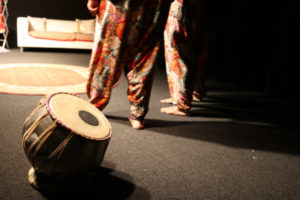 A tabla on the corner of the stage.