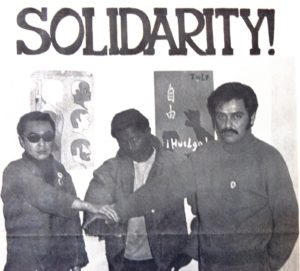 A newsprint poster from UC Berkeley's chapter of the Third World Liberation Front dated from March 1969, with Richard Aoki on the far left. Photo credit to Asian American Movement 1968.