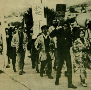 From a newspaper printed in 1969 by the Asian American Political Alliance (AAPA), San Francisco State University's Third World Liberation Front (TWLF) chapter holds a picket line. Photo credit to Asian American Movement 1968