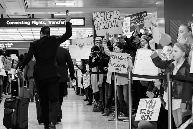 Photo from the Dulles International Airport Muslim Ban protest taken by Geoff Livingston on Flickr.