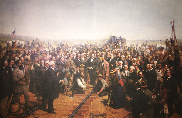 Chinese workers were added to an oil painting recreated from the original photo taken at the historic moment connecting the First Transcontinental Railroad. Ftom the book, Golden Spike.