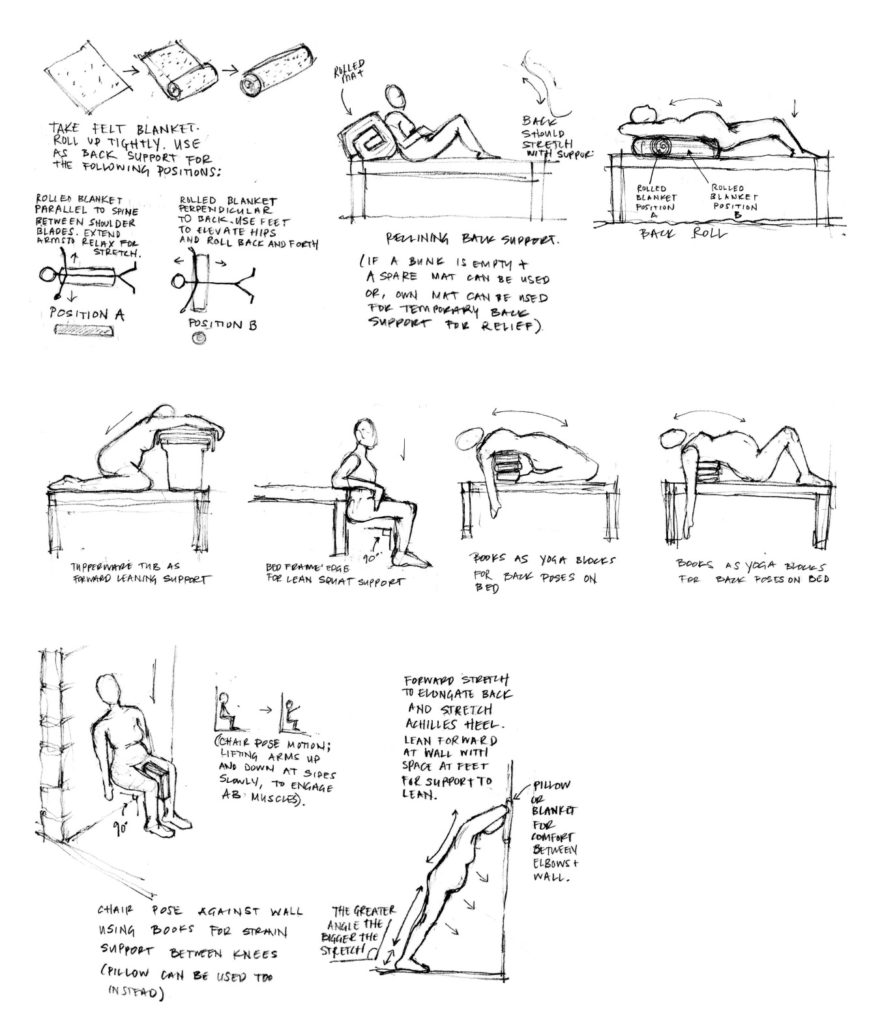 [Image Description: Drawings of pregnant bodies engaging in various poses and stretches for prenatal pain management. There are notes under the drawings explaining how certain objects can be readapted and used alike exercise tools.]